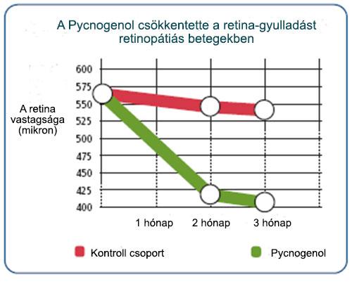 A Pycnogebol csökkentette a retina vastagságot
